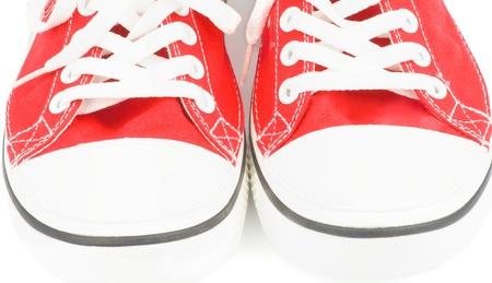 赤いジョギングシューズ