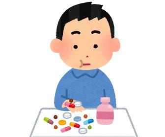 薬を飲む人。