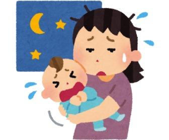 夜泣きする赤ちゃんとあやすママ。