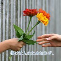 花を手渡す