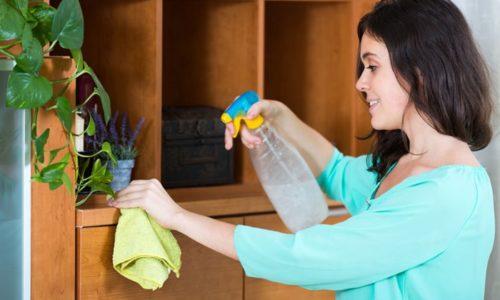 棚を掃除する人