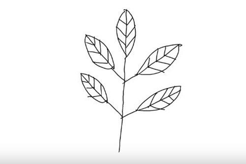 木と葉っぱの絵