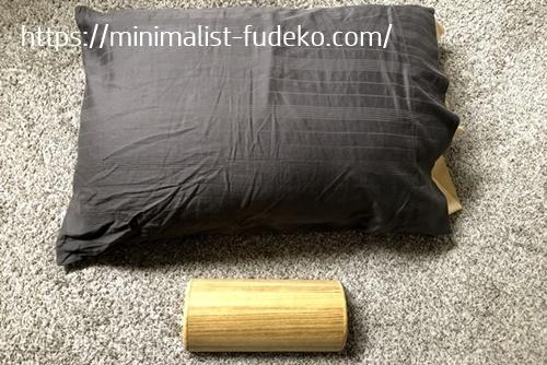 ふつうの枕と木枕