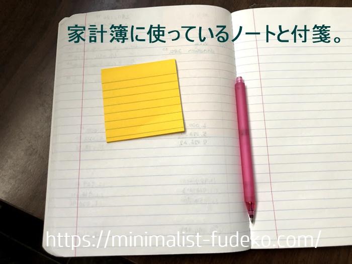 家計簿に使っているノートと付箋