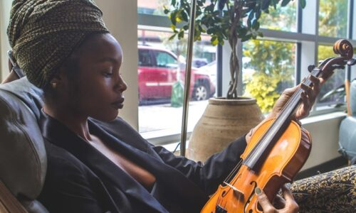 ヴァイオリンを見ている人